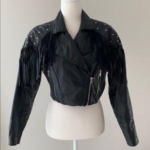 Amazing Vintage Cropped Leather Moto Jacket